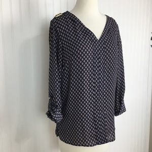 2 for $10 New Directions v neck roll tab top S